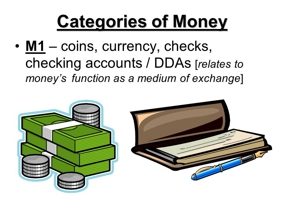 Categories of Money M1 – coins, currency, checks, checking accounts / DDAs [relates to money's function as a medium of exchange]